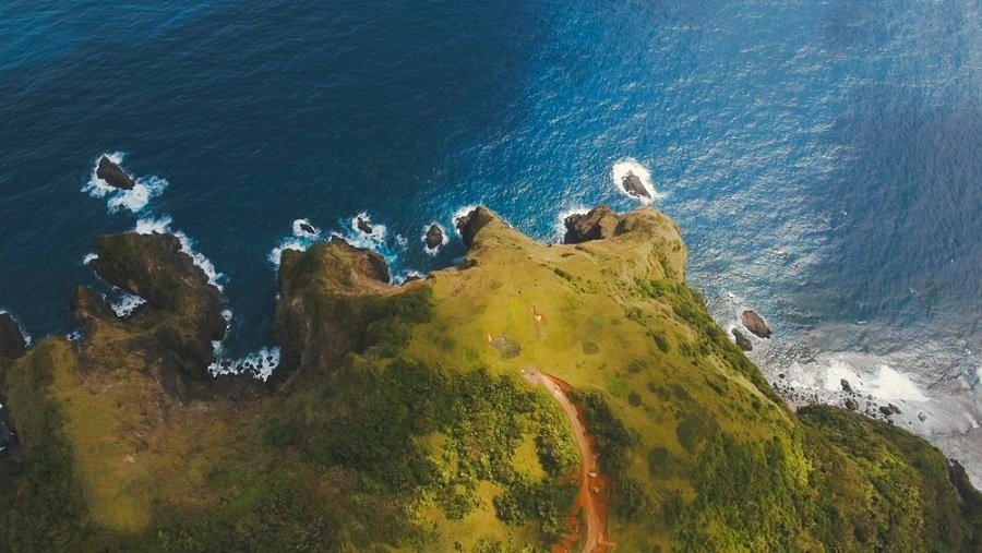 aerial view of an island in catanduanes