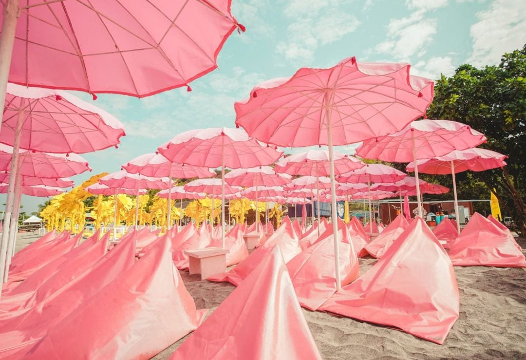 pink bean bags at inflatable island in zambales